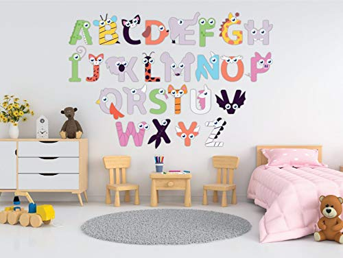 Generic Branded Wall Tattoo Educational Animals Alphabet ABC 26 Letter Modern Style Waterproof [Wear1] Wall Sticker Decoration for Chicken