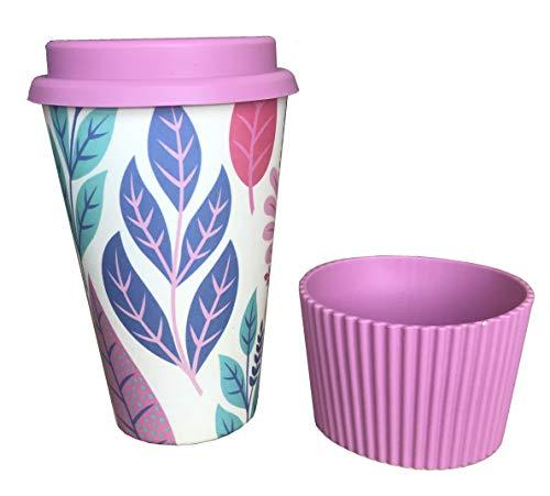 Vaso Café para Llevar Reutilizable - Vaso de Cafe de Fibra de Bambu con Tapa de Silicona y Funda Antideslizante - Taza de Té Ecologica de Viaje - Coffee To Go - Apto Lavavajillas - Eco, Bio, sin BPA