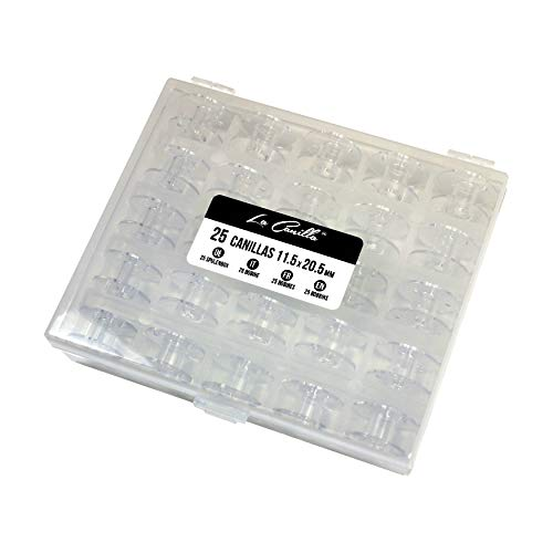 La Canilla ® - Caja de 25 Canillas Bobinas Transparentes para Máquinas de Coser Alfa, Singer, Brother, Juki, Elna.
