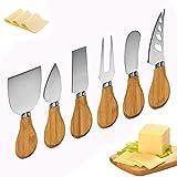 Juego de cuchillos para queso, juego de 6 cuchillos para queso de acero inoxidable y espátula de tenedor para queso con mango de bambú para cocinar en la cocina
