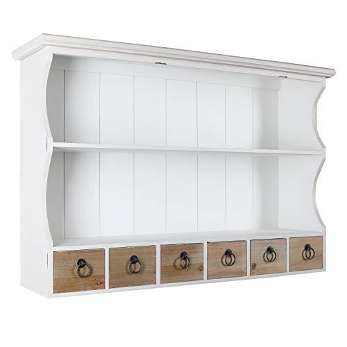 H4L Wandregal mit 6 Schubladen Antik-Weiß Regal Vintage Küchenregal Holzregal 80cm Landhausstil