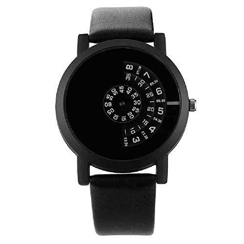 OLUYNG Reloj de Pulsera Giradiscos de Moda Reloj de Pareja Hombres Mujeres Relojes Reloj Creativo Reloj de Cuero Amado Sevgili i, Negro