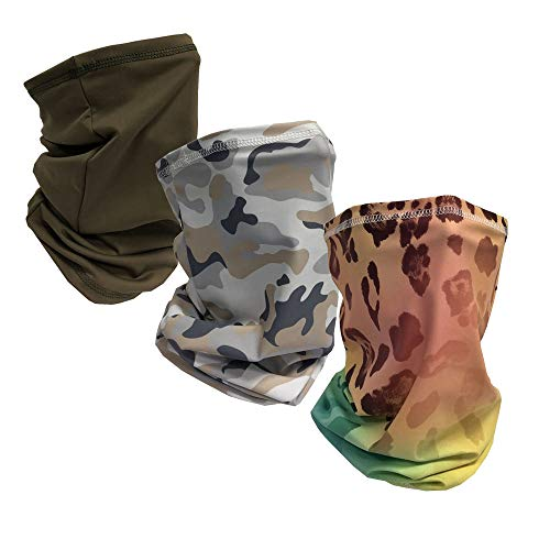 Unisex Cooling Neck Gaiters Face Scarf Covering Balaclavas headwear headband bandana With UV Protection For Dust Outdoor (1 Olive + 1 White camo +1 Leopard camo)