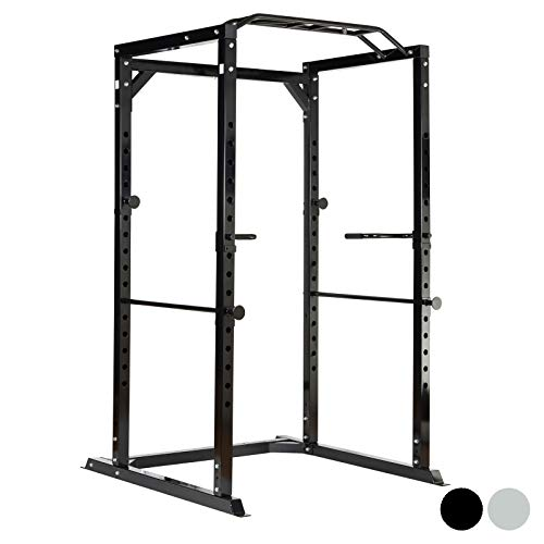 Mirafit Heavy Duty Olympic Power Cage with Multi Grip Pull Up Bar - Black