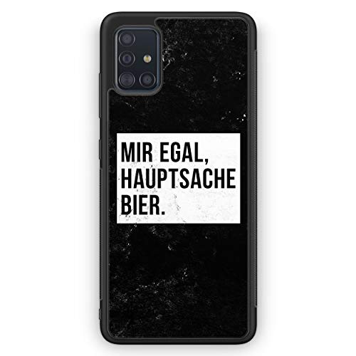 Mir Egal Hauptsache Bier - Silikon Hülle für Samsung Galaxy A51 - Motiv Design Cool Witzig Lustig Spruch Zitat Grunge - Cover Handyhülle Schutzhülle Hülle Schale