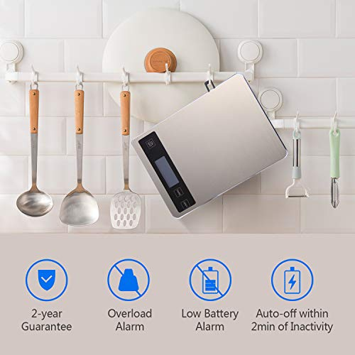 Product Image 6: Kitchen Scale, Homever 15kg Food Scale with 9 X 6.3in Big Panel, Stainless Steel Digital Kitchen Scale with 1g Accuracy and Back-lit LCD Display.