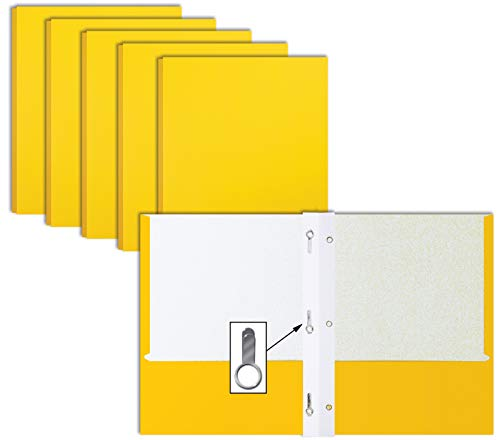 Yellow Paper 2 Pocket Folders with Prongs, 50 Pack, by Better Office Products, Matte Texture, Letter Size Paper Folders, 50 Pack, with 3 Metal Prong Fastener Clips, Yellow