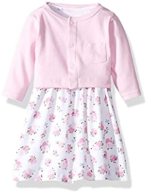 Luvable Friends Baby Girls Dress and Cardigan Set, Pink Floral, 2 Toddler