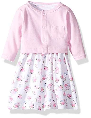 Luvable Friends Baby and Toddler Girl Dress and Cardigan, Pink Floral, 3 Toddler
