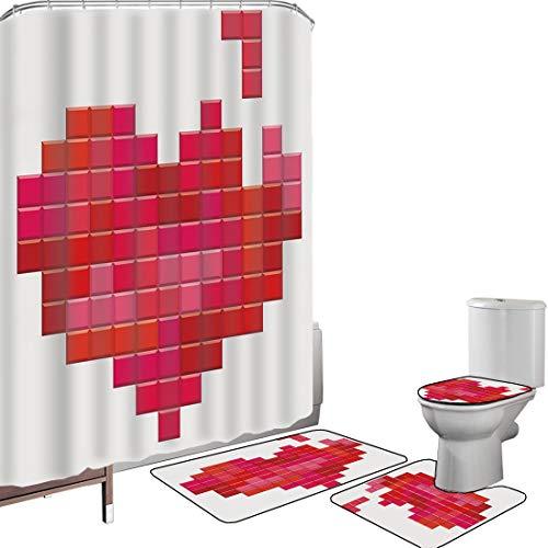 Shower Curtain Set Bathroom Accessories Carpet Set Valentines Day Bath Mat Contour Rug Toilet Cover Video Game Tetris Red Heart Vintage Pixelated Design Joyful Romantic,Red Pink Scarlet Non-Slip Water