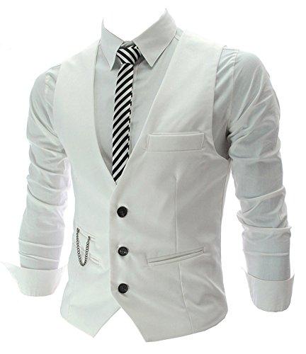 Izacu Flocc Heren Top Ontworpen Casual Slim Fit Skinny jurk vest Waistcoat Gilet