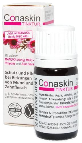 Lindert Beschwerden durch APHTHEN, HERPES & Zahnfleischentzündungen | Conaskin Tinktur mit aktivem MANUKA Honig (MGO400+) & Propolis | 5 ml | OHNE CHEMIE |
