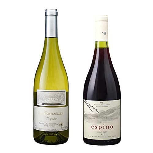 フランス 白ワイン 辛口 ヴィオニエ チリ 赤ワイン フルボディ ピノ ノワール 2種 各1本 飲み比べ ワインセット 厳選セット1