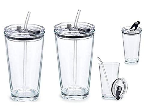 Set di 2 bicchieri in vetro con coperchio e cannuccia riutilizzabile, coperchio e cannuccia in vetro