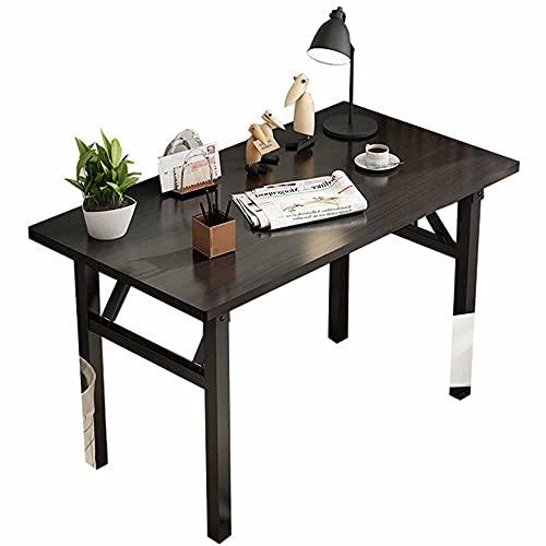 LJFYXZ Escritorio Mesa Plegable Escritorio de Estudio de Oficina Estructura de Acero de una Pieza No se Necesita instalación para Uso de Empresa/Picnic/jardín Negro 80/1(Size:100x60cm,Color:Negro)