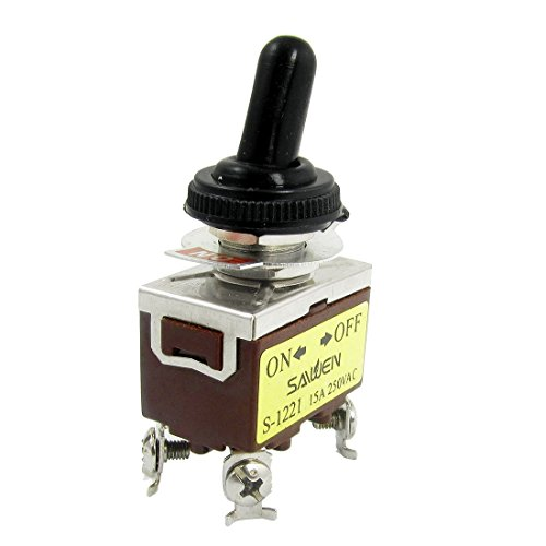 AC 250V 15A amperios DPST On/Off 2 Posición 4 terminales de tornillo interruptor de palanca con arranque a prueba de agua