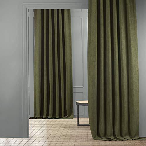 HPD Half Price Drapes BOCH-LN185-P Faux Linen Room Darkening Curtain (1 Panel), 50 X 96, Tuscany Green