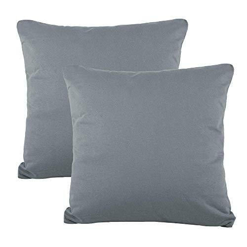 CelinaTex BeNature Kissenbezug Doppelpack 50 x 50 cm dunkel grau Baumwolle Dekokissen Bezug Jersey