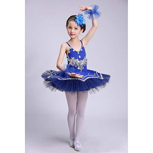 Boenxuan Niñas Elegante Ballet de Tul Vestido de tutú de la Danza - Lentejuelas con Cuentas Flor de Baile Trajes de Jersey Roca Rendimiento,Azul,110cm