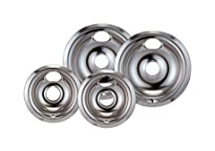 Fits GE & Hotpoint ranges with plug in element and locking slot made since 1990 Heavy Duty Chrome Finish Speeds Cooking Time Saving Energy Makes Cook Top Look New Again. The dimensions for these are 8 inch bowl will fit into a range top opening with ...