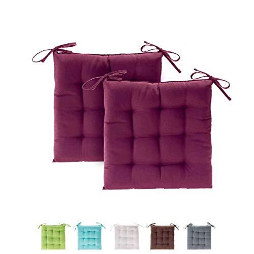 etérea Basic Sitzkissen, Stuhlkissen mit Bändern - für Innen- und Außenbereich geeignet, Sitzpolster Auflage für Haus und Garten - 2er Set - 40x40 cm, Bordeaux