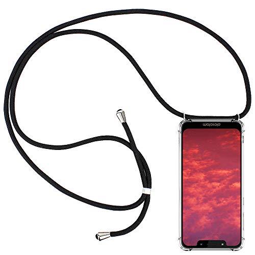 CLM-Tech Handykette kompatibel mit Motorola Moto G7 Play - Hülle mit Kordel zum Umhängen - Silikon Schutzhülle transparent mit Band Schnur, schwarz