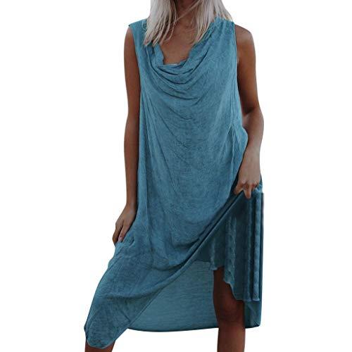 SANNYSIS Sommerkleid Damen Freizeit Kleid Elegant Strand Kleider Einfarbig Blusenkleider Ballkleid Festkleid Frauen Langarm Wickelkleider Abendkleider Partykleid (XL, Minzgrün)
