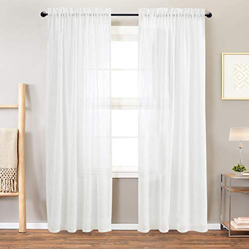 Off White Sheer Curtains Linen Textured Drapes 84 Inch Length Rod Pocket Open Weave Linen Look Window Curtains for Living Room Bedroom 2 Panels