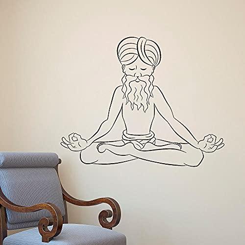 Viejo Meditating Yogi Vinyl Wall Decal Yoga Estudio Decoración de la pared Hinduismo Pegatina Arte Mural Dormitorio Sala de estar Decoración 52x42 cm