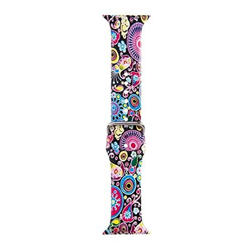 Correa de impresión para Apple Watch Band Cinturón de silicona con flores florales para iWatch Series 5 4 3 2 1 Pulsera de reloj 38 mm 40 mm 42 mm 44 mm