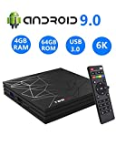HOMI Android TV Box 9.0,T95 MAX 4GB RAM 64GB RAM Chip H6 Quad-Core Cortex-A53 Smart TV Box,Supports 4K 6K Resolution 2.4GHz WiFi 100M LAN Enternet USB 3.0 Mini TV Box