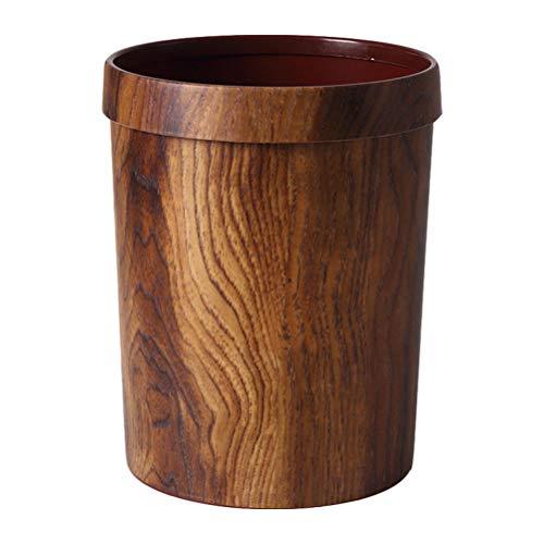 WINOMO Basurero de madera de imitación, contenedor de basura estilo país imitación madera cubo de basura creativo hotel litterbin hogar almacenamiento cubo
