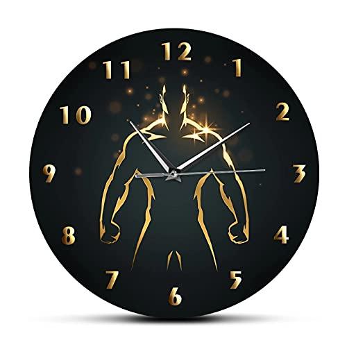 xinxin Reloj de Pared Reloj de Tiempo de Entrenamiento de Fuerza Deporte Arte Gimnasio Reloj de Pared Fitness Body Building Reloj de Pared de Barrido silencioso Hombre Cueva Sala de Estar Decoración