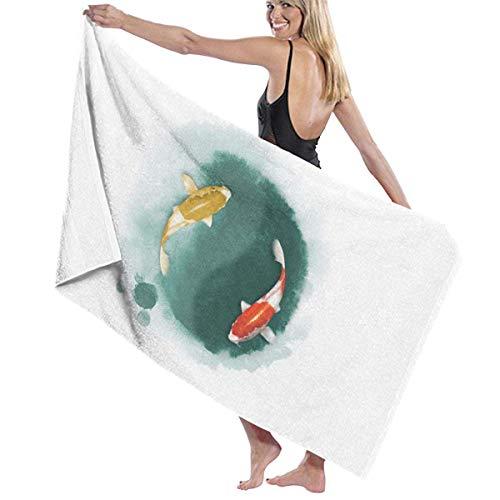 asdew987 Toallas de playa para mujeres y hombres Tai Chi Japón Koi Fish Toallas de baño de secado rápido multiusos viaje piscina manta grande 76 x 158 cm