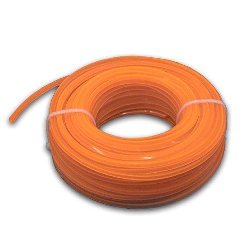 vhbw Filo falciante Universale per tagliaerba, decespugliatore - Filo di Ricambio, Arancione, 2,4 mm x 15 m, Quadrato