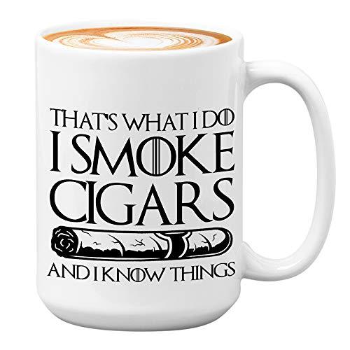 Cigar Mug 15 Oz, Cigarette Mug for Tobacco Smoker Cigars Lover Decor Dad Husband