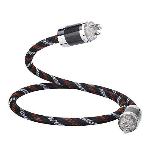HiFi Audio Power Cable 125V 15A,Hi End Amplifier Power Cord,Audiophile AC Power Cable with Carbon Fiber US Plug+IEC320 C13 Plug (3.3FT/1M)