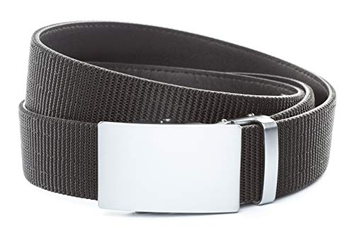 """Anson Belt & Buckle - 1.5"""" Classic Silver Buckle with Concealed Carry Ratchet Belt Strap (Tactical Grade Nylon/Microfiber, Black)"""