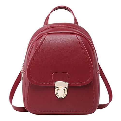 Gofodn Mini-Mädchen-Rucksack, Damen, klein, einfach, solider doppelter Reißverschluss, Persönlichkeit, Kopfhörer-Stecker, Metallknopf, Reise-Schultertasche für Damen, Rot - rot - Größe: XL