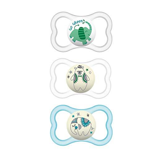 MAM Air Night & Day Chupetes (chupetes de 1 día y 2 noches), chupete de piel sensible MAM 16 meses, el mejor chupete para bebés amamantados, chupete que brilla en la oscuridad, unisex, diseños pueden variar