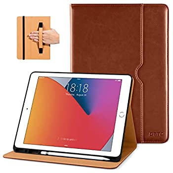 DTTO New iPad 7th/8th Generation Case 10.2 Inch 2019/2020 Premium Leather Business Folio Stand Cover with Built-in Apple Pencil Holder - Auto Wake/Sleep and Multiple Viewing Angles - Brown
