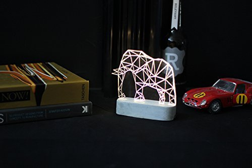 Concrete Elephant lamp, SAFARI decorative lamp, Geometric LED table lamp, animal night light