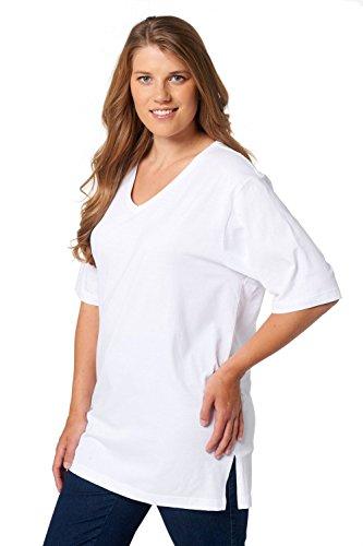 Ulla Popken Damen T-Shirt, V-Ausschnitt, Weiß (Weiss 20), 62/64