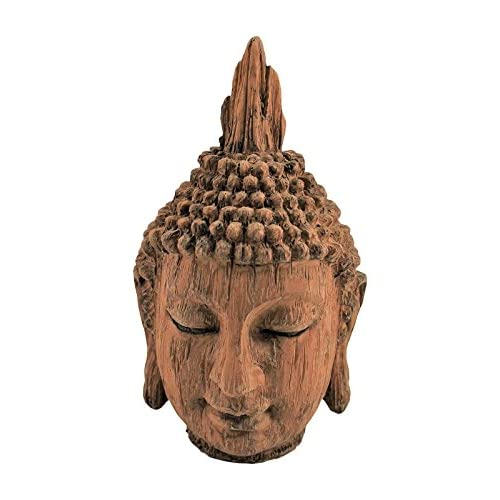 HOME HUT Wooden effect Buddha Head Sculpture Ornament indoor Home Decor 24 cm tall