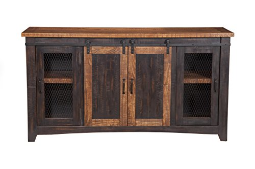 Martin Svensson Home Santa Fe TV Stand, Antique Black and Aged Distressed Pine