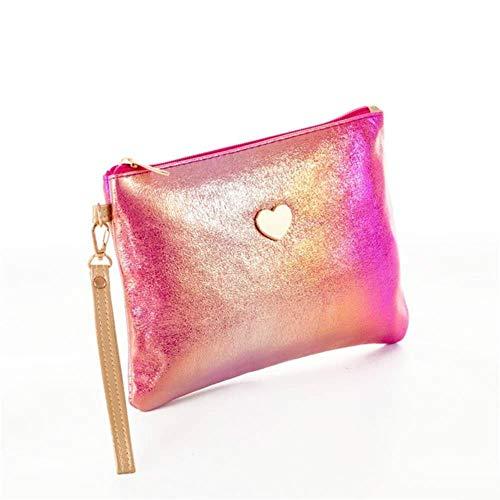 Mini Solide Couleur Femmes Maquillage Sac Laser En Cuir Pu Lady Petit Sac Voyage,Rose Rouge