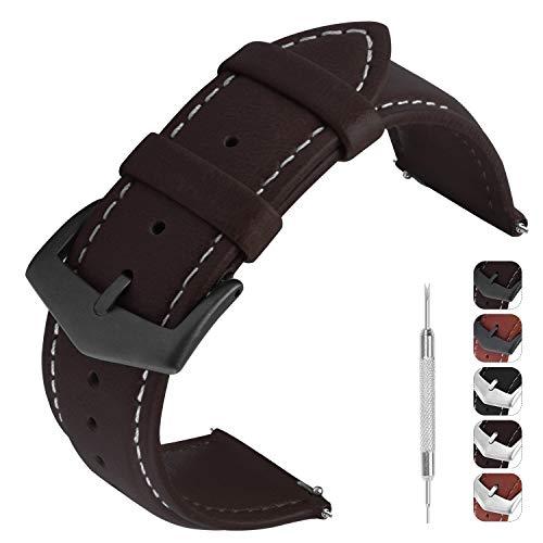 GerbGorb Cinturino Pelle Vintage 3 Colori per 18mm 20mm 22mm, Cinturino di Ricambio Universal, Watch Band a Sgancio Rapido per Orologio, 20mm caffè/Bronza Fibbia