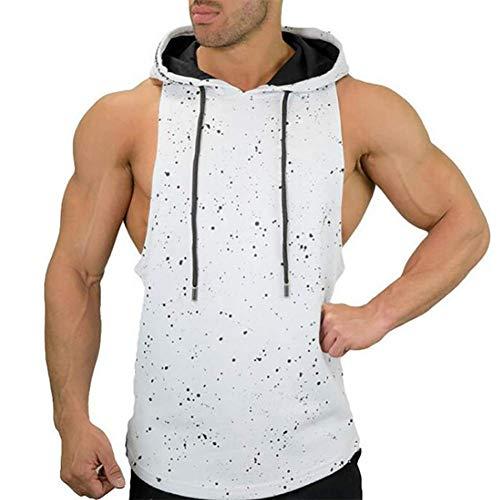 Fitness vest voor heren Spierfitheid Sportief vest Rennen Camouflage Vrije tijd Mouwloos Hoodies,White,M