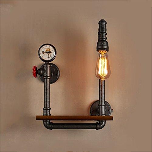 Moda nórdica lámpara de pared Lámpara de pared industrial retro del tubo del hierro Reloj creativo de la válvula Reloj de madera de la tabla Luz del restaurante Iluminación de la barra sin la fuente d
