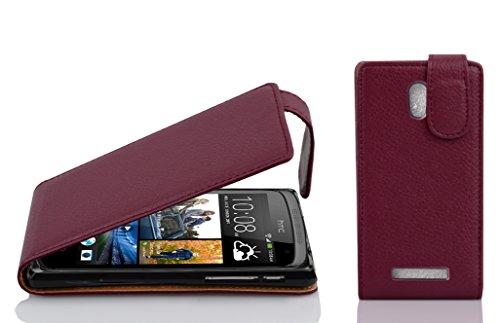 Cadorabo Hülle für HTC Desire 500 in Bordeaux LILA - Handyhülle im Flip Design aus Strukturiertem Kunstleder - Hülle Cover Schutzhülle Etui Tasche Book Klapp Style